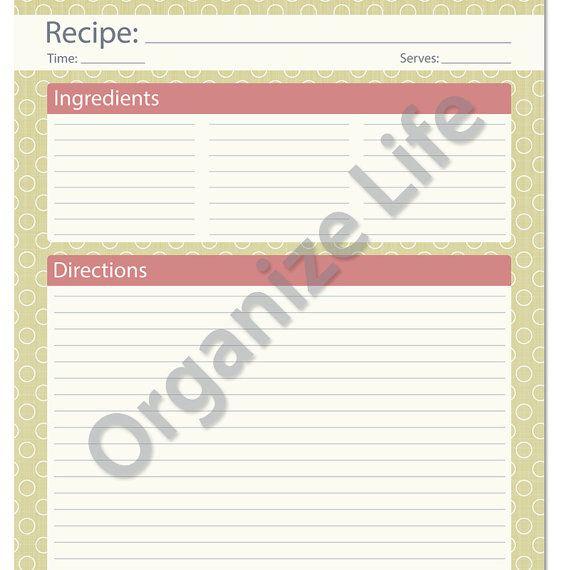 recipe card  full page - recipe template