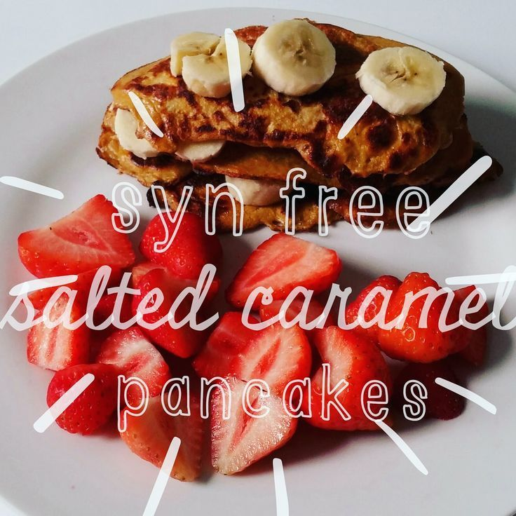recipe for slimming world sym free salted caramel pancakes picture of pancakes with header text over image