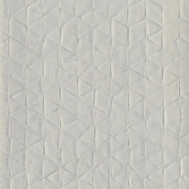 Triangulum Wallpaper in Metallic Grey design by Stacy Garcia for York Wallcoverings