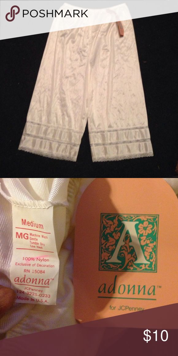 Adonna white panty slip w/lace. Sz M NWT. Adonna (from JC Penney) white panty slip w/lace. Sz M NWT. Adonna Intimates & Sleepwear