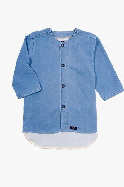 Chemise Baseball Bleached, Clothing Men, Bleu de Paname - Six and Sons