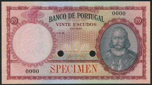 (†) Banco de Portugal, specimen colour trial 20 Escudos, ND (ca 1941), Chapa 6, serial number 0000, no signatures, black and red-brown on multicoloured underprint, portrait of Dom Antonio Luiz de Menezes at right, reverse arms at centre, value at left and in each corner, overprinted SPECIMEN in red on obverse and reverse, two punch holes