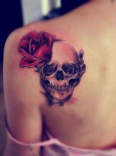 pretty skull tattoos for women   Upper Back Tattoos: Skull Rose Tattoos for Girls / Source