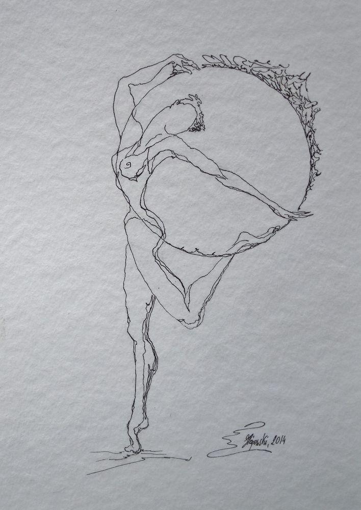 Tusche Feder Zeichnung Mensch Körper Tanz Gimnastyk Karton schwarz weiß Hajewski