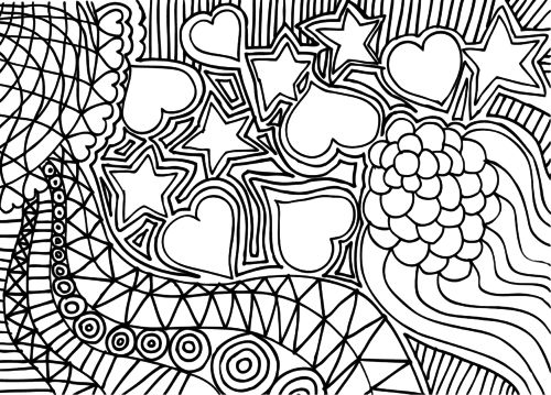 doodle coloring page hearts and stars doodles kid activities and free printable