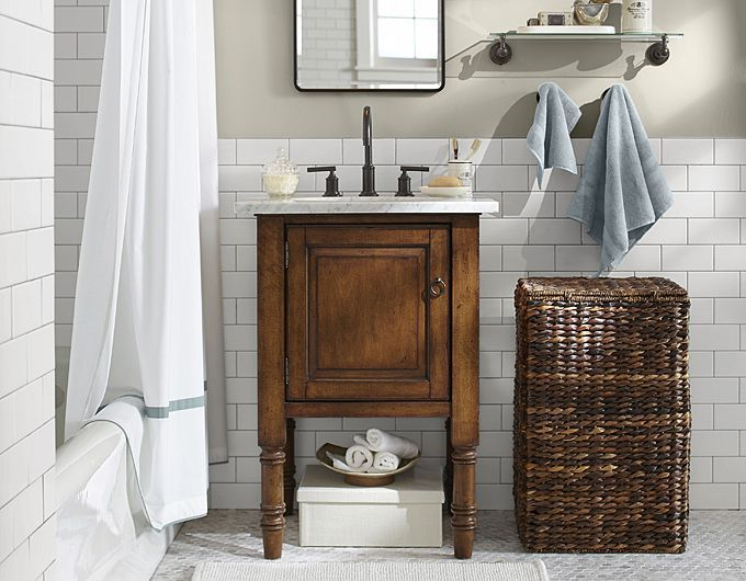 Marble tile with subway tile - idea for the girls bathroom