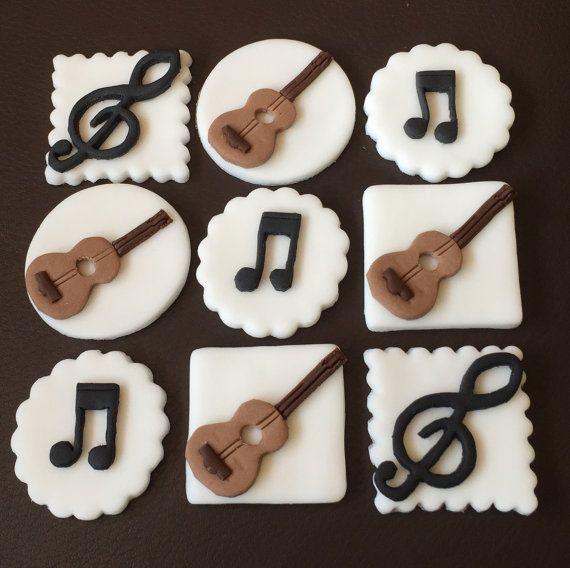 9 x edible icing Musical Guitar theme cupcake by ACupfulofCake