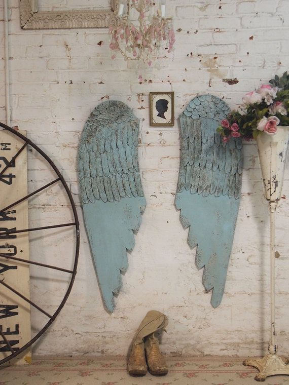 Painted Cottage Chic Shabby Angel WINGS HD54 by paintedcottages, $175.00