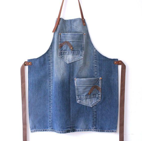 solide bleu denim et tablier en cuir brun avec deux poches ! tablier en Jean en cuir, tablier unisexe denim, tablier de travail, tablier artisans, cadeaux pour lui