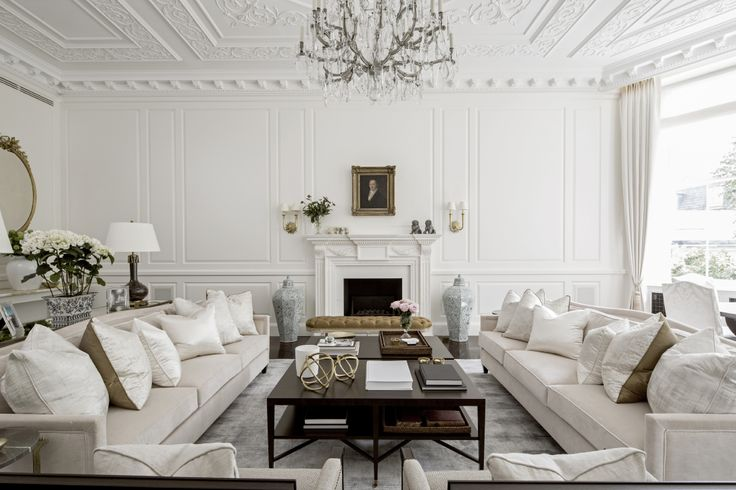Formal living and dining space - Beautiful luxury conversion from 1508 Interior Designers in Belgravia, London. Featured on www.MartynWhiteDesigns.com