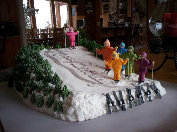 (Royal Icing) Skiing the Birthday Slope! cake