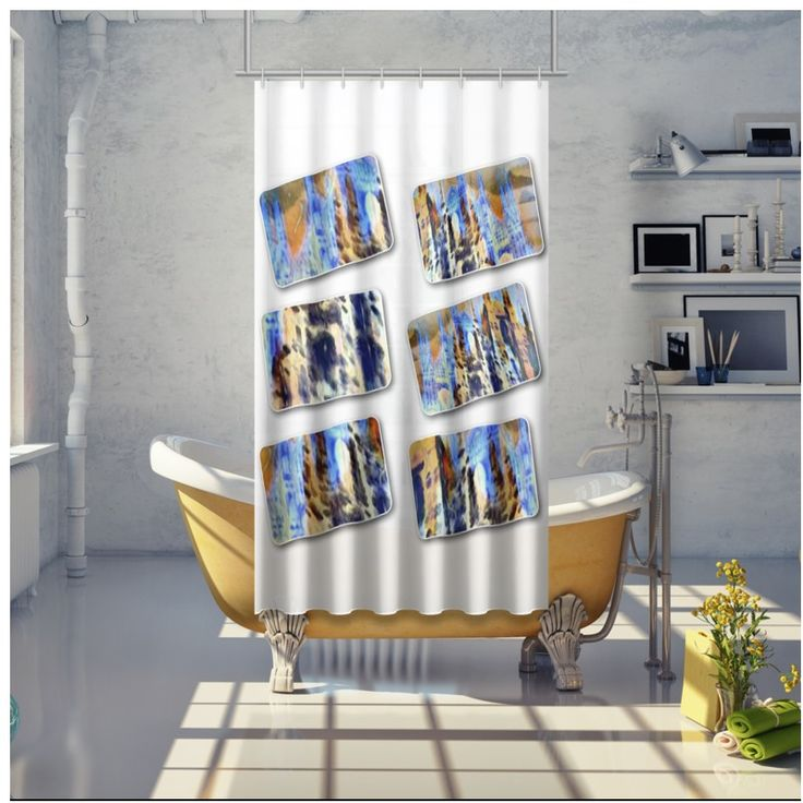 """Duomo"" Shower Curtain  -  3 sizes (from 110x200cm to 190x200cm) 100% waterproof fabric Lead weights applied to the lower edge Internal metal rings 10mm inside."