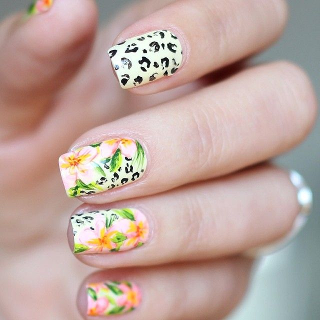 Tropical Pink Flower Nails With Leopard Pattern