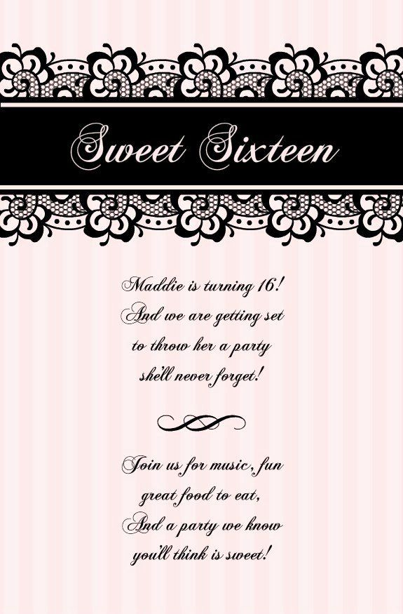 Sweet Sixteen Invitation Template Best Of Free Printable Sweet 16 Invitatio Sweet 16 Party Invitations Party Invite Template Sweet Sixteen Birthday Invitations
