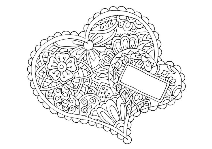 Heart coloring page, you may add on your own text in the box!