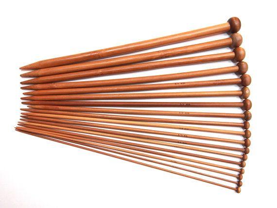 36 pcs (18 Sizes) Bamboo Knitting Needles - Single Pointed Needles