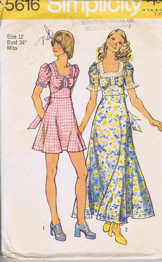 VINTAGE SEWING PATTERN 70s 1 PC Dress SIMPLICITY 5616 SZ 12 BUST 34 HIP 36 UNCUT