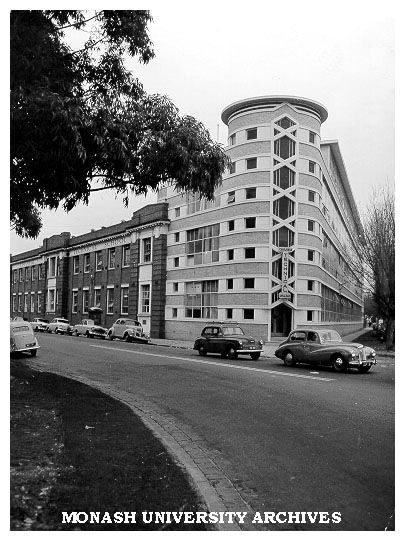 Caulfield Technical School 1947. Corner tower Dandenong Road. Now Monash Uni Caulfield. Designed by Percy Everett Chief Architect Public Works Department of Victoria. Image Monash University archives