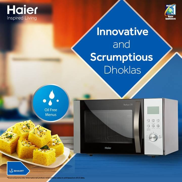 Need oil free dish with a nutritious combo of vitamins, protein, fiber, calcium and iron.  Try innovative and scrumptious dhoklas made with a combination of oats, semolina and spinach. #Haier
