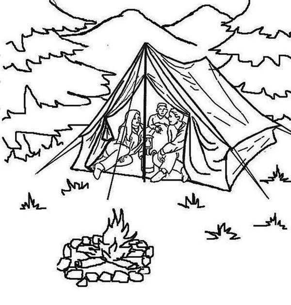 Summer Camp, : Summer Vacation at Summer Camp Coloring Page