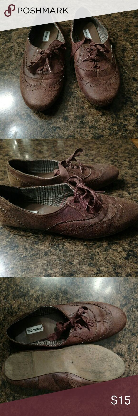Not Rated Cognac tie up shoes Beautiful cognac color, worn, but very nice looking and very soft. Not Rated Shoes Flats & Loafers