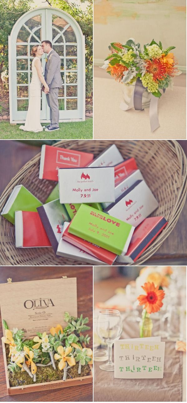 coral and green wedding. love the different matches as favors