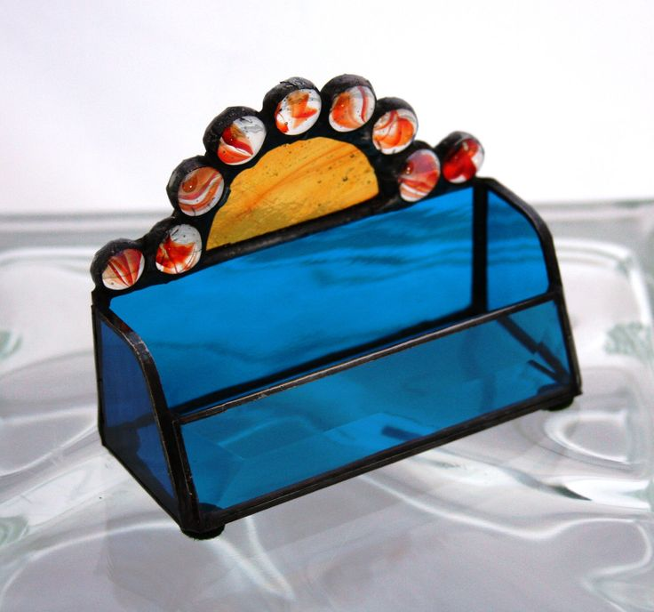 Donated by Deborah Smedstad: stained glass business card holder ...