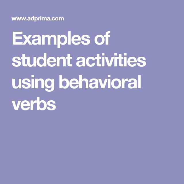 Examples of student activities using behavioral verbs