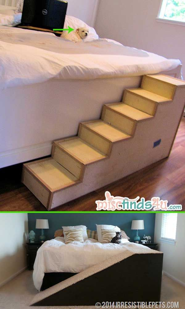 Simple steps you can build your own pet ramp attached your bed.
