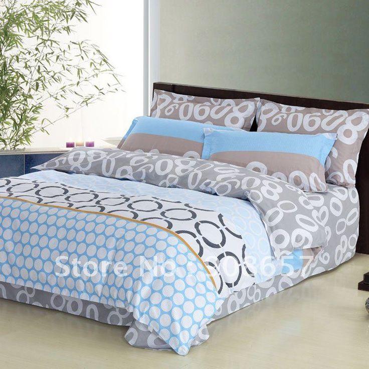4 шт постельное белье полный / Queen хлопок дети в постельные принадлежности комплект синий серый узор в горошек круг узор утешитель крышки текстиль для дома