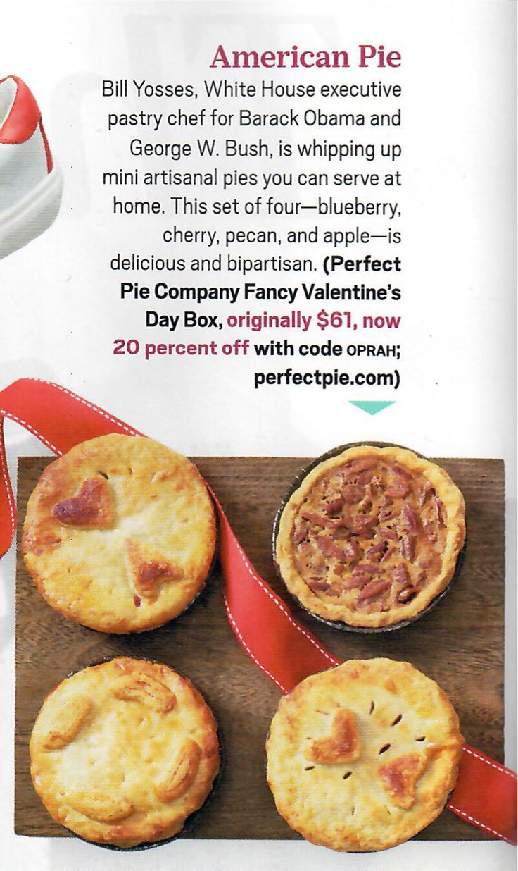 """Looking for something sweet for your Valentine? Our Valentine's Day Box, featured in #oprahmagazine, is the perfect gift. The box includes four of our 4"""" pies - cherry, blueberry, apple, and pecan. #perfectpie #perfect #pie #dessert #baking #valentinesday #oprah #oprah #eeeeeats #yum"""