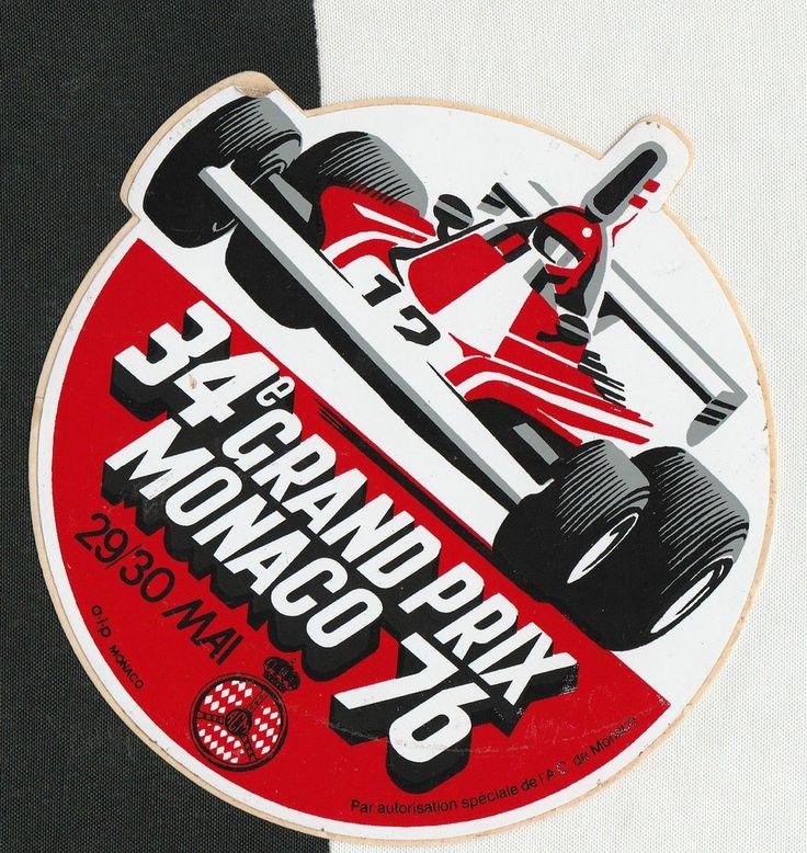 1976 34th MONACO GRAND PRIX F1 PERIOD RACE STICKER AUFKLlEBER ADESIVO NIKI LAUDA