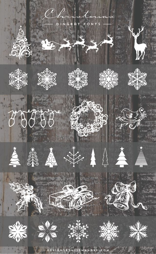 Christmas Dingbat Fonts - Designs By Miss Mandee. Super cute clip art for the holiday season! I especially love the reindeer pulling Santa's sleigh.