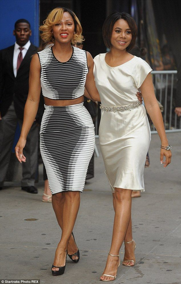 It takes two: The beauty also posed with co-star Regina Hall who opted for light beige sat...