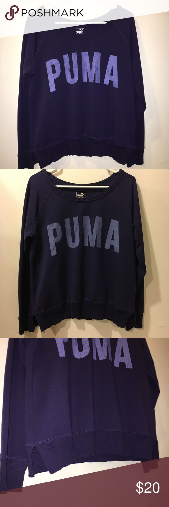PUMA pull over sweat shirt purple active wear top Brand new puma active wear sweatshirt. Purple with lighter purple text. Logo embroidered in the back and Dry Cell technology. Puma Tops Sweatshirts & Hoodies