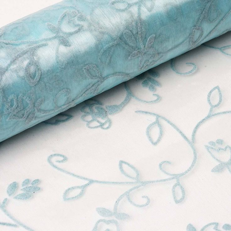 "Muchos Besos Embroider 12"" x 10 yards - Light Blue 