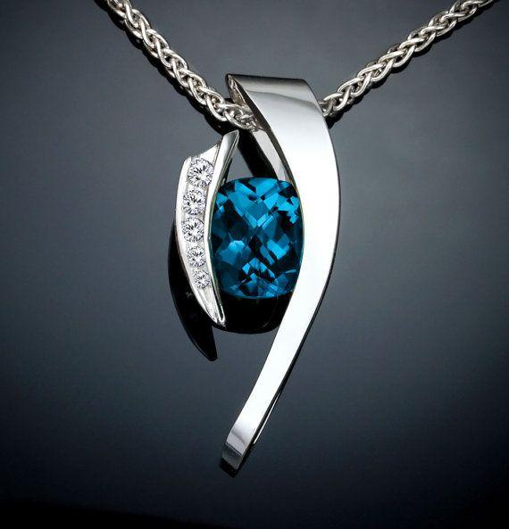 London blue topaz necklace - white sapphires - statement necklace - December birthstone - Argentium silver - fine jewelry - 3374