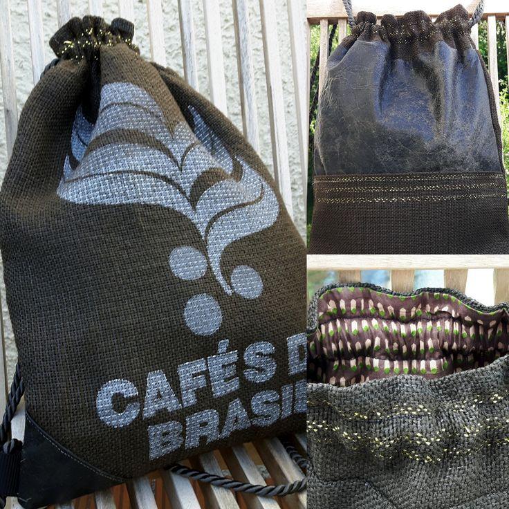 Hipster-Bag aus einem alten Ledermantel und Kaffeesack.