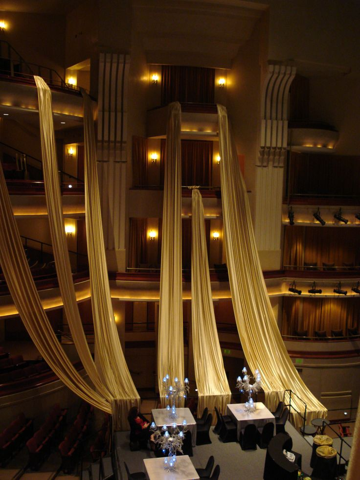 Dramatic draping framed this dinner on stage in our Concert Hall.