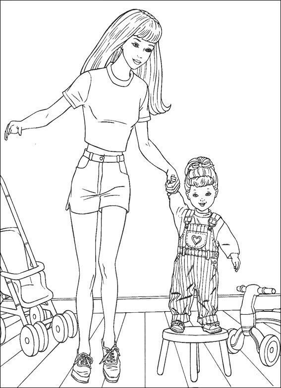 Barbie With Baby Coloring Pages Barbie Dolls Cartoon Coloring
