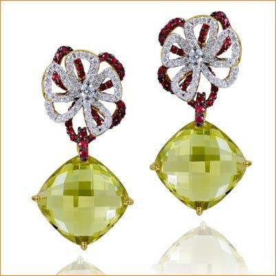 Lemon Topaz Earrings by Farah Khan