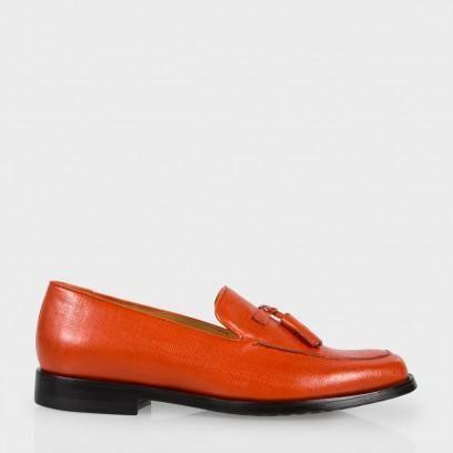 Paul Smith Women's Burnt Orange Saffiano Leather Tasseled 'Stevenson' Loafers Side