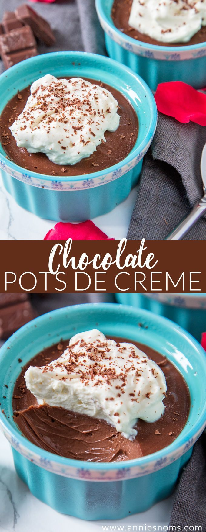 These rich and creamy Chocolate Pots de Creme are super easy to make and the perfect decadent dessert for you and a loved one!