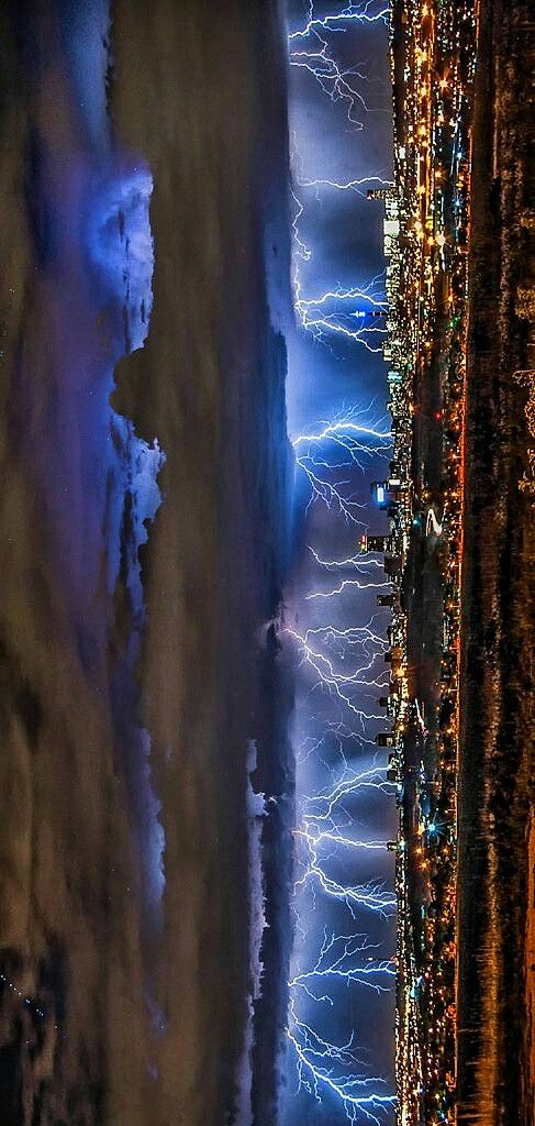 Multiple lightning strike Lightning fills the skyline in this incredible composite