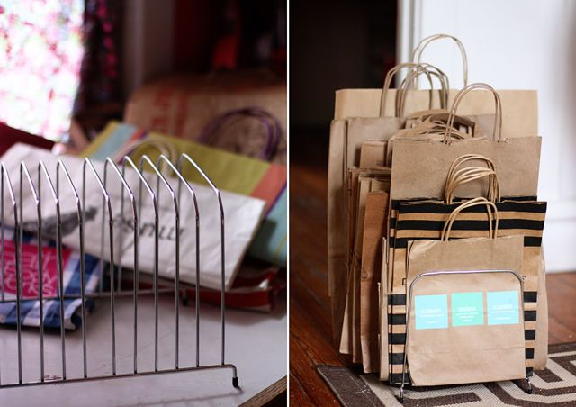 The key to repurposing these bags is keeping them wrinkle-free — and when they're thrown into a pile in the back of your closet that's not very likely. Use a file organizer to keep them upright instead. See more at Aunt Peaches »