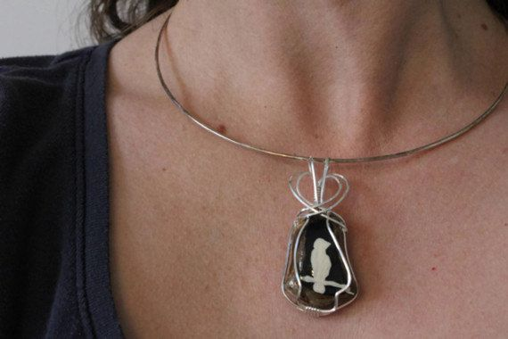 Hand Painted Stone Sterling Silver Pendant Wire by storyleaf, $57.00