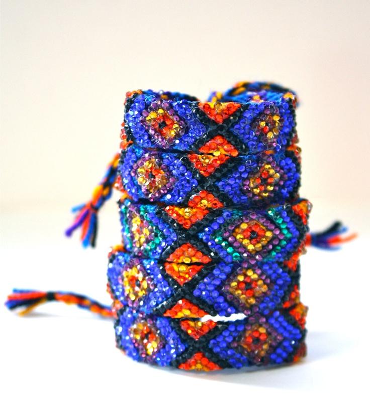 The Original Swarovski Crystal Friendship Bracelet-  Marigold Design (Blue, Orange, Black & Purple)). $50.00, via Etsy.