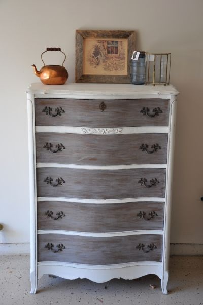Love the gray wash on the drawers.  Fab Rehab Creations: French Provincial Tall Boy Dresser