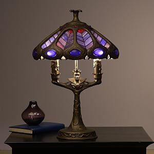 evilcween stained glass lamp