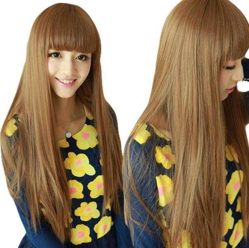 Długa peruka BRUNETKA brąz proste włosy grzywka